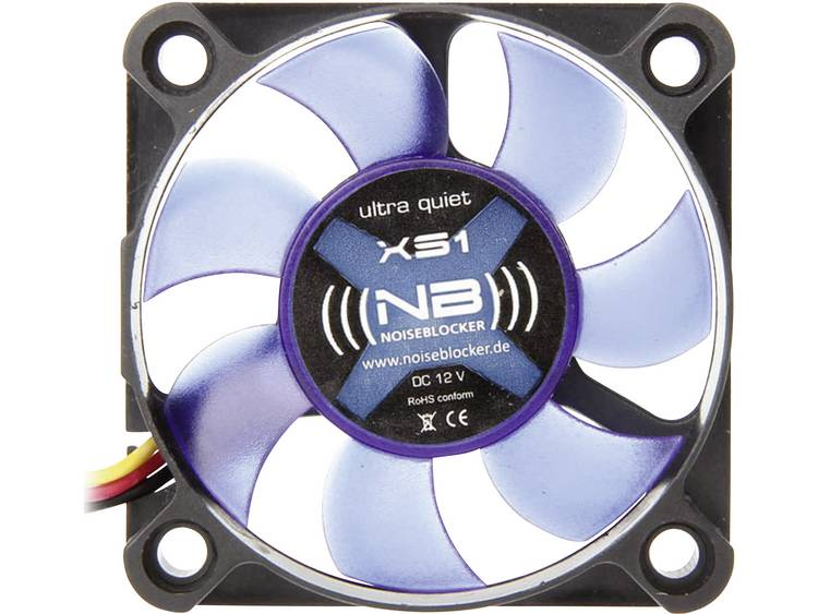 PC ventilator NoiseBlocker BlackSilent XS1 Zwart, Blauw (doorschijnend) (b x h x d) 50 x 50 x 10 mm