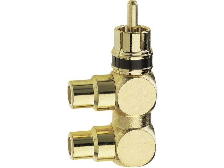 Inakustik Cinch Audio Adapter [1x Cinch-stekker 2x Cinch-koppeling] Goud