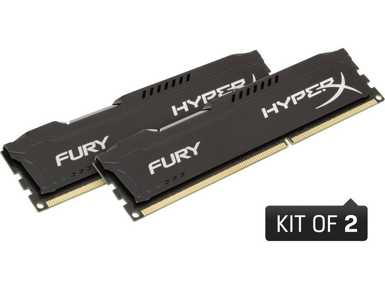 HyperX HyperX Fury Black HX316C10FBK2/16 16 GB DDR3-RAM PC-werkgeheugen kit 1600 MHz 2 x 8 GB