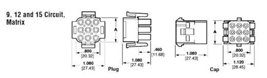 Busbehuizing-kabel Totaal aantal polen 15 TE Connectivity 3