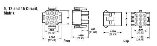 Penbehuizing-kabel Universal-MATE-N-LOK Totaal aantal polen 12 TE Connectivity 350735-4 Rastermaat: 6.35 mm 1 stuks