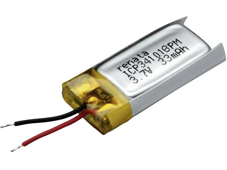 Renata ICP341018PM Speciale oplaadbare batterij Prismatisch Kabel LiPo 3.7 V 35 mAh