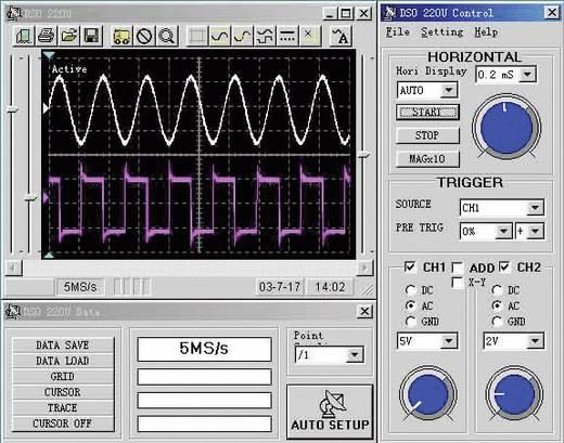 VOLTCRAFT DSO-2250AL Oscilloscoop-voorzetstuk 100 MHz 2-kanaals 250 MSa/s 1 Mpts 8 Bit Digitaal geheugen (DSO), Spectru