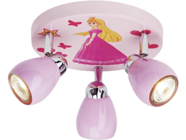energie A++, Plafondlamp Princess roze metaal 3 lichtbronnen, Brilliant