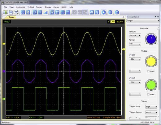 VOLTCRAFT DSO-2020 USB Oscilloscoop-voorzetstuk 20 MHz 2-kanaals 48 MSa/s 1 Mpts 8 Bit Digitaal geheugen (DSO)
