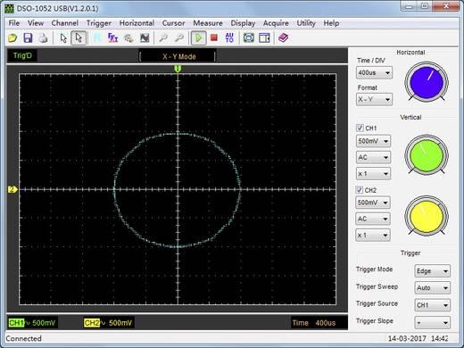 VOLTCRAFT DSO-1052 USB Oscilloscoop-voorzetstuk 50 MHz 2-kanaals 150 MSa/s 64 kpts 8 Bit Digitaal geheugen (DSO), Spect