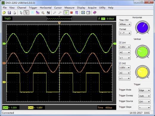 Oscilloscoop-voorzetstuk VOLTCRAFT DSO-2202 USB 200 MHz 2-kanaals 250 MSa/s 1 Mpts 8 Bit Digitaal geheugen (DSO), Spect