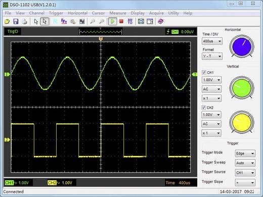 VOLTCRAFT DSO-1102 USB Oscilloscoop-voorzetstuk 100 MHz 2-kanaals 250 MSa/s 1 Mpts 8 Bit Digitaal geheugen (DSO), Spect