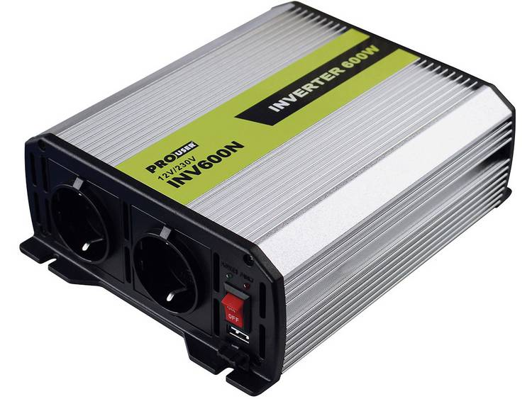Omvormer ProUser Omvormer 600W 12 naar 230V 600 W 12 V-DC Sigarettenaanstekerstekkerdoos, DC klemmen