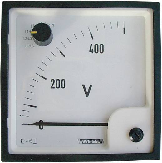 Weigel EQ 96 SWT 0 - 500 V/AC Schakelpaneel-weekijzermeter met omschakelaar 0 - 500 V/AC Weekijzer