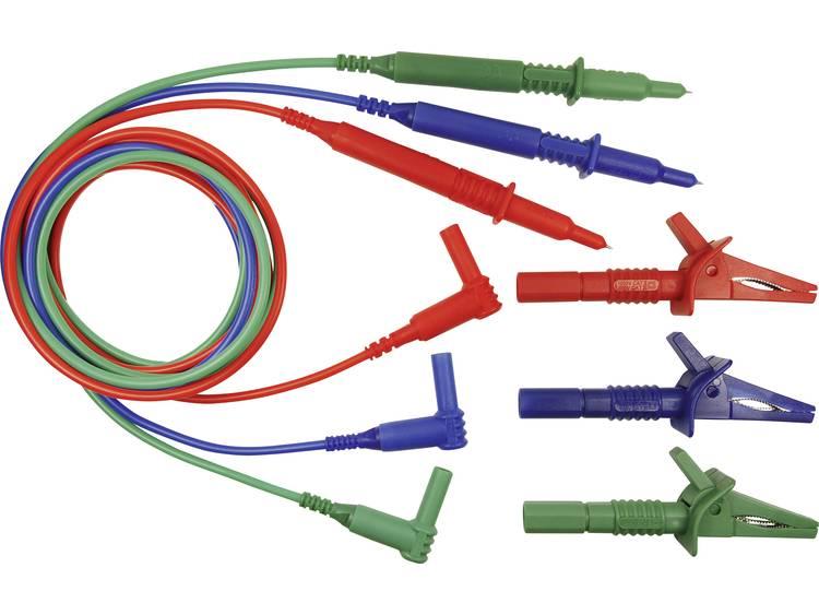 Veiligheidsmeetsnoerenset [Stekker 4 mm Testpunt] 1.5 m Blauw Groen Rood Cli