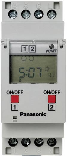 Digitale 2-kanaals tijdschakelklok TB6220187 Panasonic TB6220187 220 - 240 V/AC 2 wisselcontacten 16 A 250 V/AC (Ohmse belasting) 16 A/(inductieve belasting) 8 A
