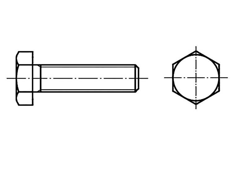 Zeskantbouten M27 75 mm Buitenzeskant (inbus) DIN 933 Staal 10 stuks TOOLCRAFT 126949