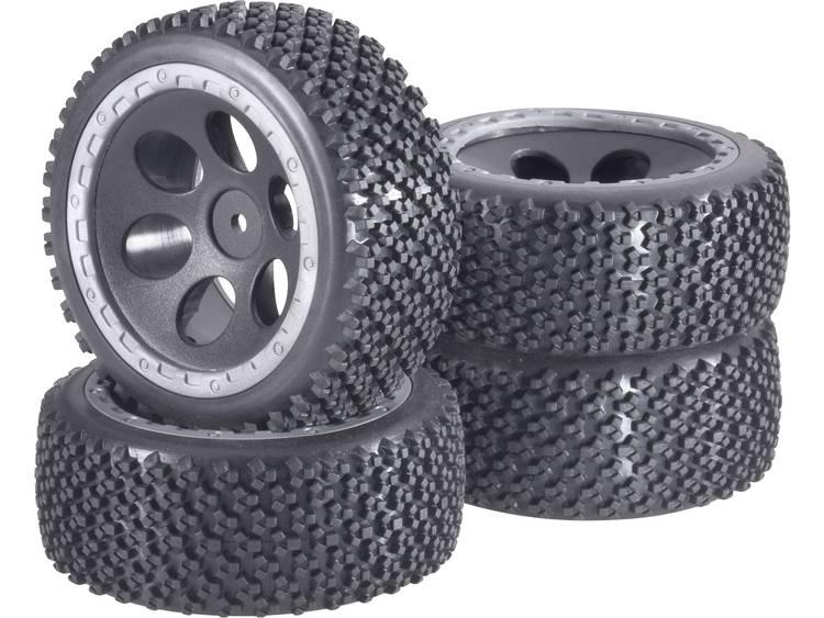 Reely 1:10 Buggy Complete wielen Rally Gatdesign Zwart 4 stuks