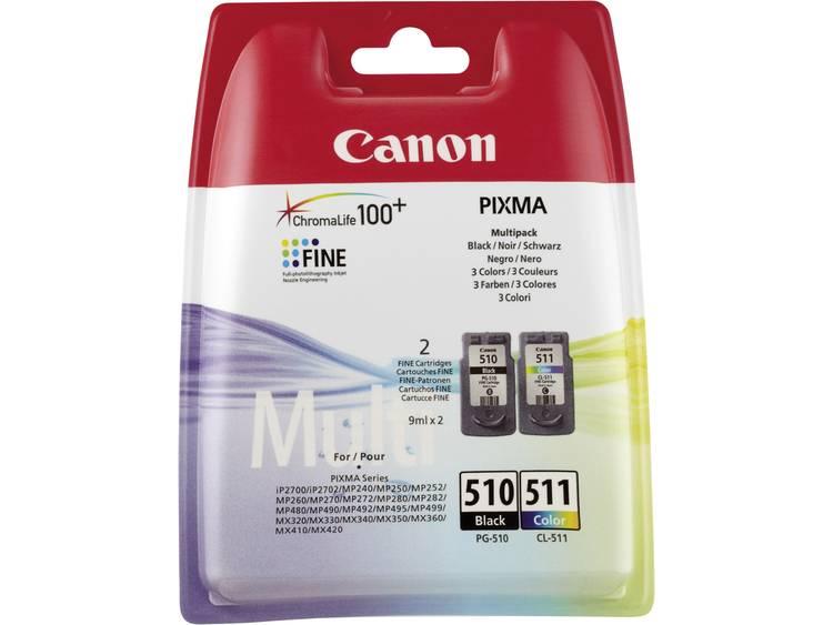 Canon Inkt PG-510 / CL-511 Origineel Combipack Zwart, Cyaan, Magenta, Geel 2970B010
