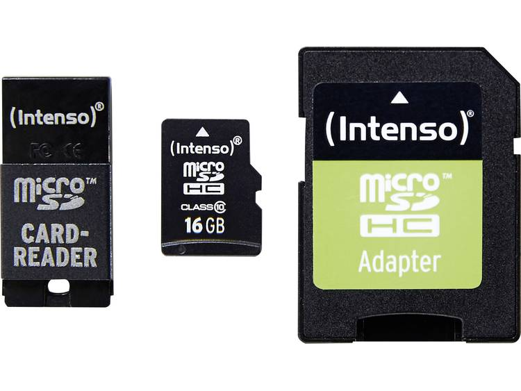 Intenso Adapter Set microSDHC-kaart 16 GB Class 10 incl. SD-adapter, incl. USB-kaartlezer