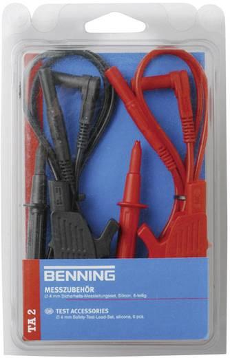 Veiligheidsmeetsnoerenset Benning TA 2 [ Banaanstekker 4 mm - Banaanstekker 4 mm] 1 m Rood, Zwart