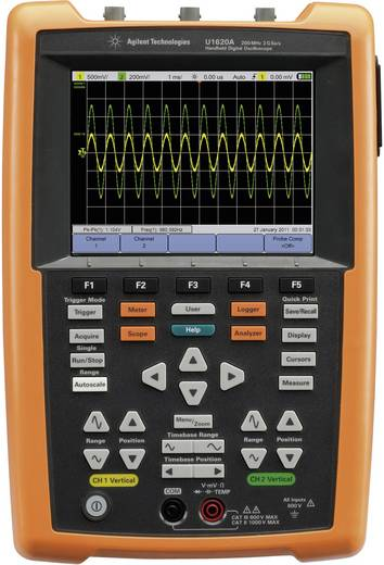Keysight Technologies U1620A Handoscilloscoop (scoopmeter) 200 MHz 2-kanaals 1 GSa/s 1 Mpts 8 Bit Digitaal geheugen (DS