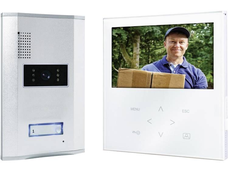Video-deurintercom Kabelgebonden Complete set Smartwares VD71W SW 1 gezinswoning Aluminium, Wit