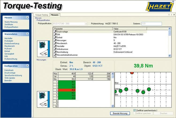 Hazet 7901E-D Software voor het testen van HAZET torque-testing