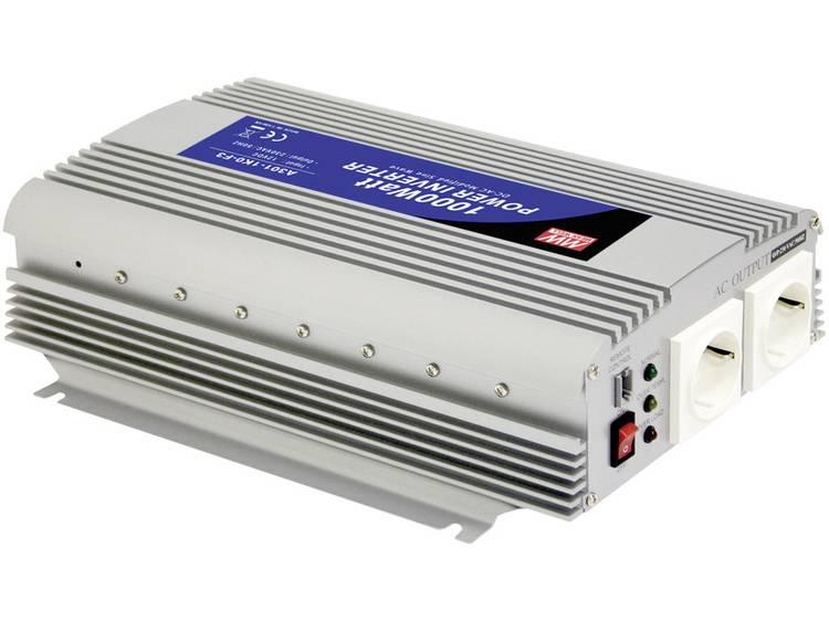 Omvormer MeanWell A301-1K0-F3 1000 W 12 V-DC 10-15 V-DC Schroefklemmen Geaarde contactdoos