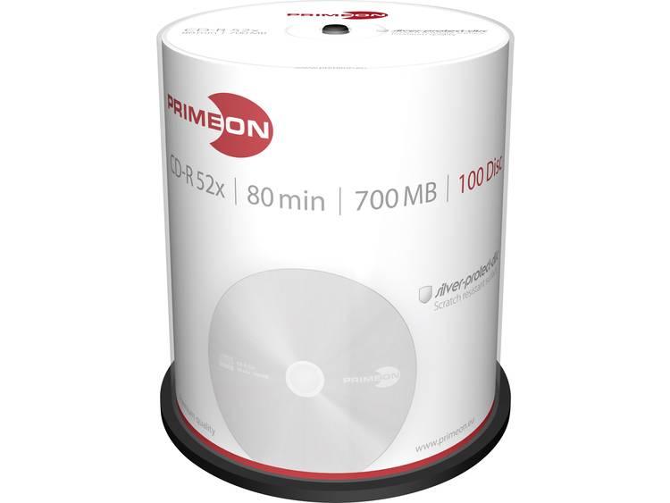 Primeon 2761103 CD-R 80 disc 700 MB 100 stuks Spindel Mat zilver oppervlak
