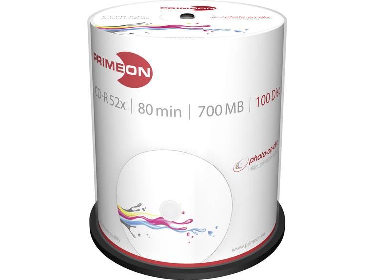 Primeon 2761106 CD-R 80 disc 700 MB 100 stuks Spindel Bedrukbaar