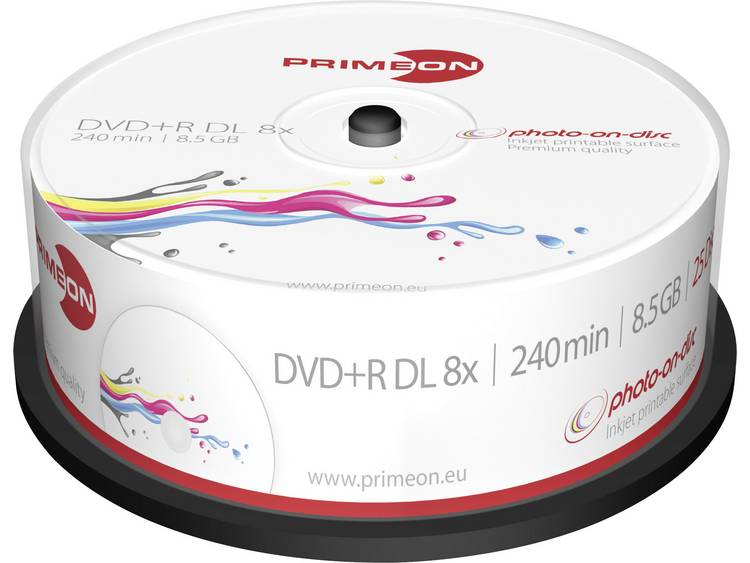 DVD+R DL disc 8.5 GB Primeon 2761252 25 stuks Spindel Bedrukbaar