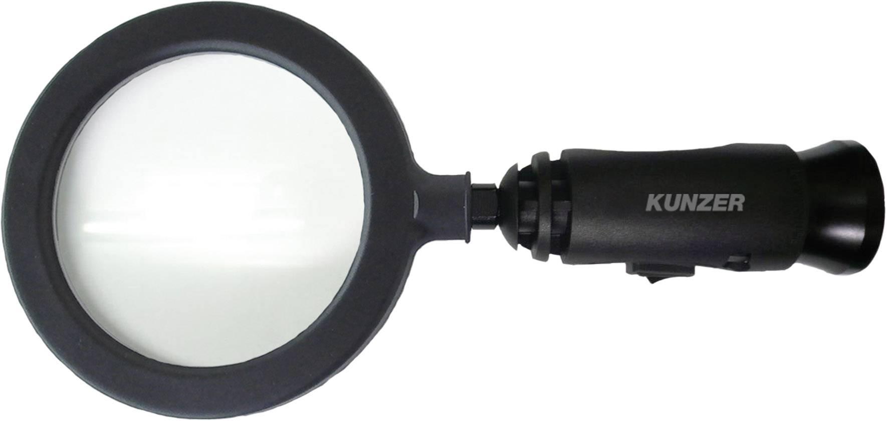 Vergrootglas Met LED-verlichting Lensgrootte: (Ø) 90 mm Zwart Kunzer ...