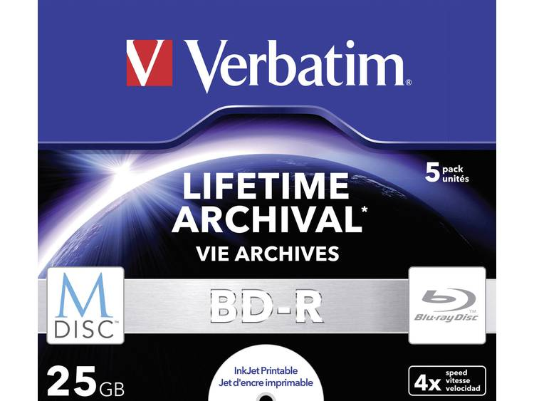 Verbatim 1x5 Verbatim M-Disc BD-R Blu-Ray 25GB 4x Speed, Jewel Case print. (43823)