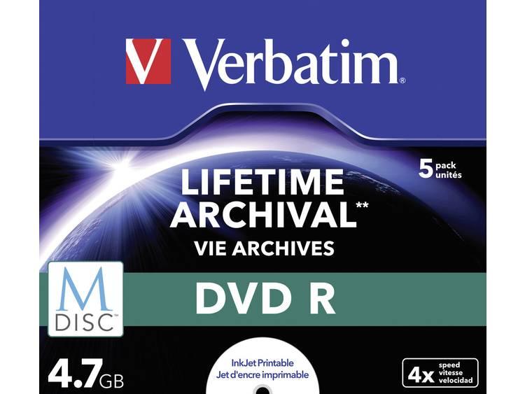 Verbatim 1x5 Verbatim M-Disc DVD R 4,7GB 4x Speed, Jewel Case, printable (43821)
