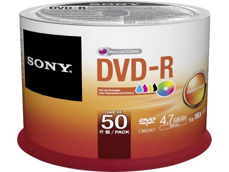 DVD-R disc 4.7 GB Sony 50DMR47PP 50 stuks Spindel Bedrukbaar