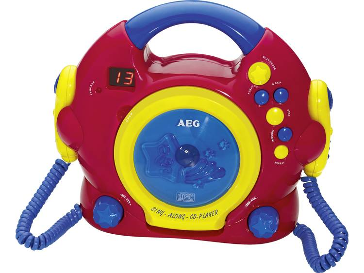 AEG CDK 4229 Kids Line, CD-speler voor kinderen, karaoke, 2 microfoons, Rood, Bont CD, CD-R, CD-RW
