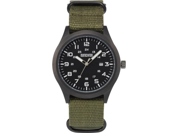 Eurochron Quarz Analoog Horloge (Ã x h) 43 mm x 11 mm Antraciet Materiaal (armband): Linnen EQAU 270