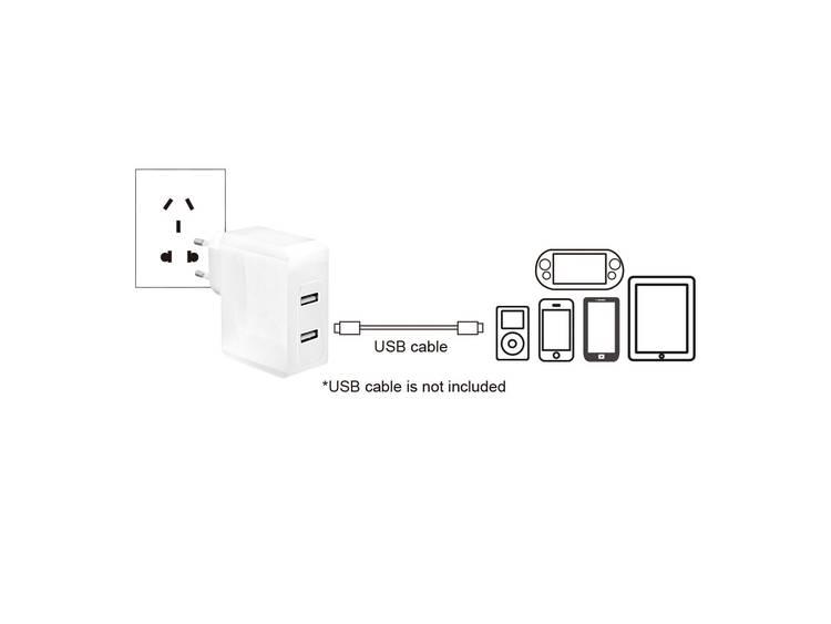 LogiLink PA0094 USB-oplader Thuislader Uitgangsstroom (max.) 3400 mA 2 x USB
