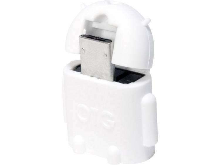 LogiLink USB 2.0 Adapter [1x USB 2.0 stekker micro-B 1x USB 2.0 bus A] Wit Met OTG-functie