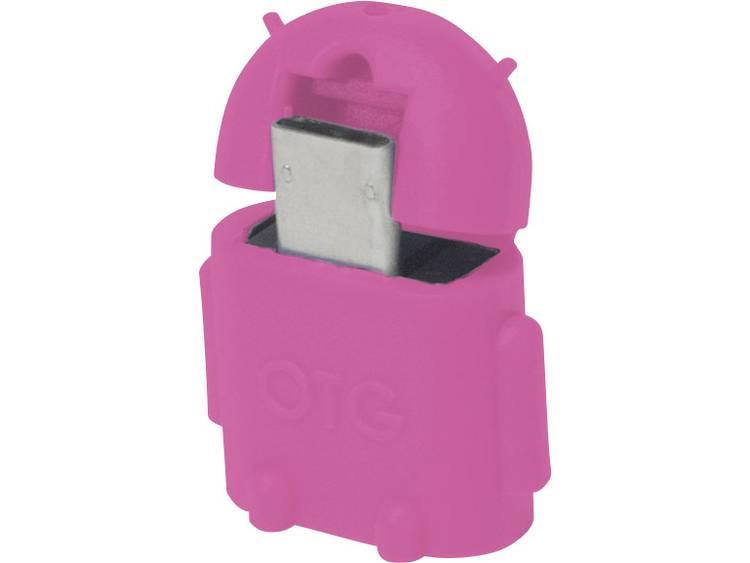 LogiLink USB 2.0 Adapter [1x USB 2.0 stekker micro-B 1x USB 2.0 bus A] Roze Met OTG-functie