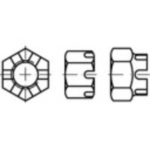 Kroonmoeren M10 DIN 935 Staal galvanisch verzinkt 100 stuks TOOLCRAFT 132193