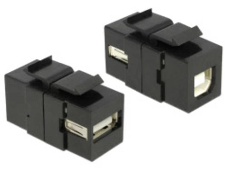 Delock Keystone-module USB 2.0 A-bus USB 2.0 B beuken zwart