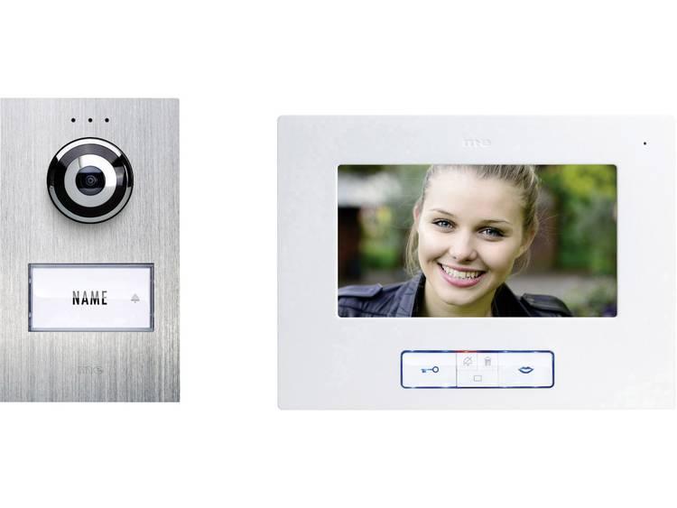 m-e modern-electronics VDB-6170 Video-deurintercom Kabelgebonden Complete set voor 1 gezinswoning RVS, Wit