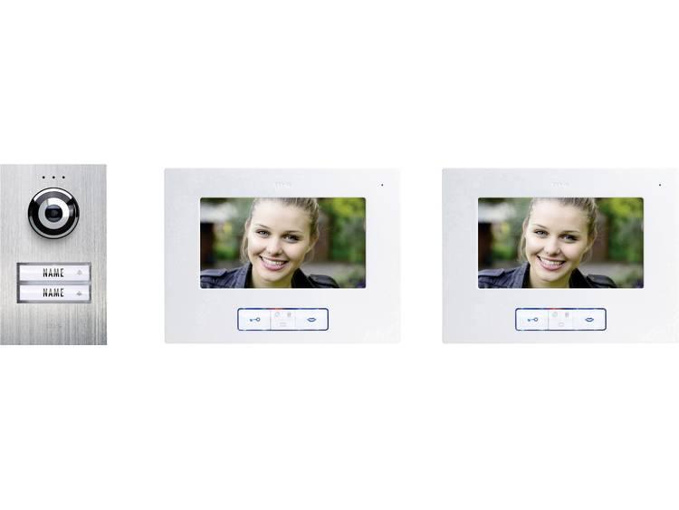 m-e modern-electronics VDB-6270 Video-deurintercom Kabelgebonden Complete set voor 2 gezinswoning RVS, Wit