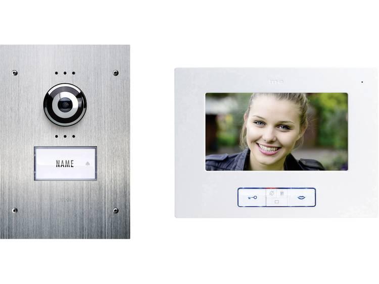 m-e modern-electronics VDB-9170 Video-deurintercom Kabelgebonden Complete set voor 1 gezinswoning RVS, Wit