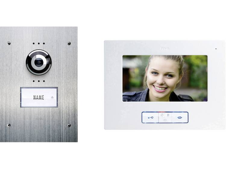 m-e modern-electronics VDB-9170 Complete set voor Video-deurintercom Kabelgebonden 1 gezinswoning RVS, Wit