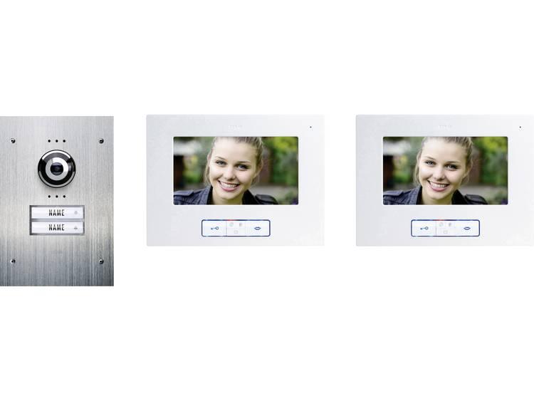 m-e modern-electronics VDB-9270 Video-deurintercom Kabelgebonden Complete set voor 2 gezinswoning RVS, Wit