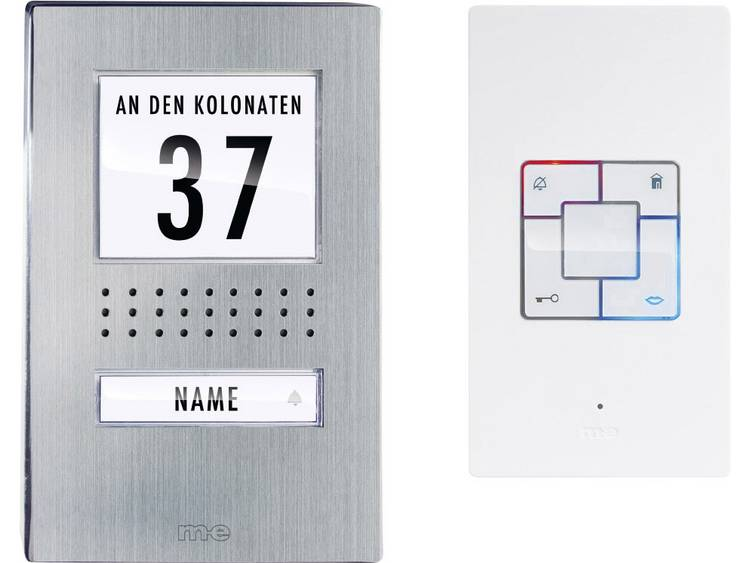 m-e modern-electronics ADB-1140 Deurintercom Kabelgebonden Complete set voor 1 gezinswoning RVS, Wit