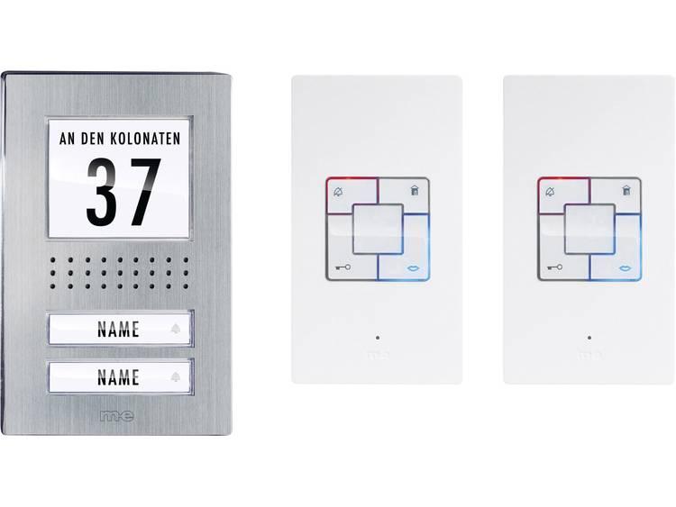 m-e modern-electronics ADB-1240 Deurintercom Kabelgebonden Complete set voor 2 gezinswoning RVS, Wit