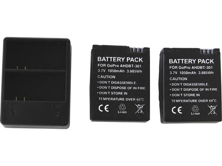 Dubbele oplader voor GoPro 3-3+ incl. 2 batterijen voor GoPro Hero 3 , GoPro Hero3+ Black, White & S