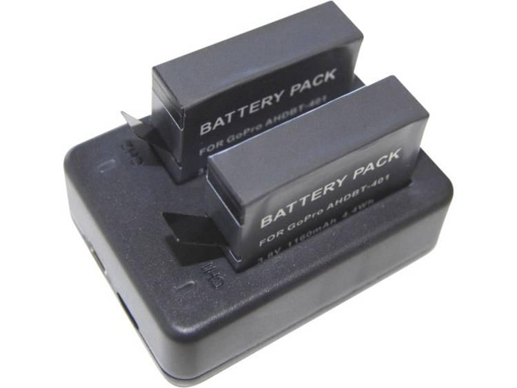 Dual-lader voor GoPro 4 incl. 2 accu's voor GoPro Hero 4 Black-Silver DCGP4_2A