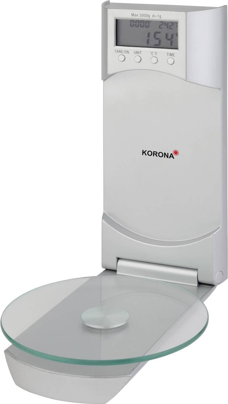 Image of Keukenweegschaal Digitaal, Met wandbevestiging Korona Wanda Weegbereik (max.)=3 kg Zilver