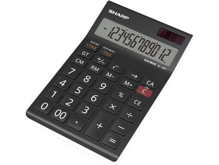 Bureaurekenmachine Sharp EL-125T Zwart Aantal displayposities: 12 werkt op zonne-energie, werkt op batterijen